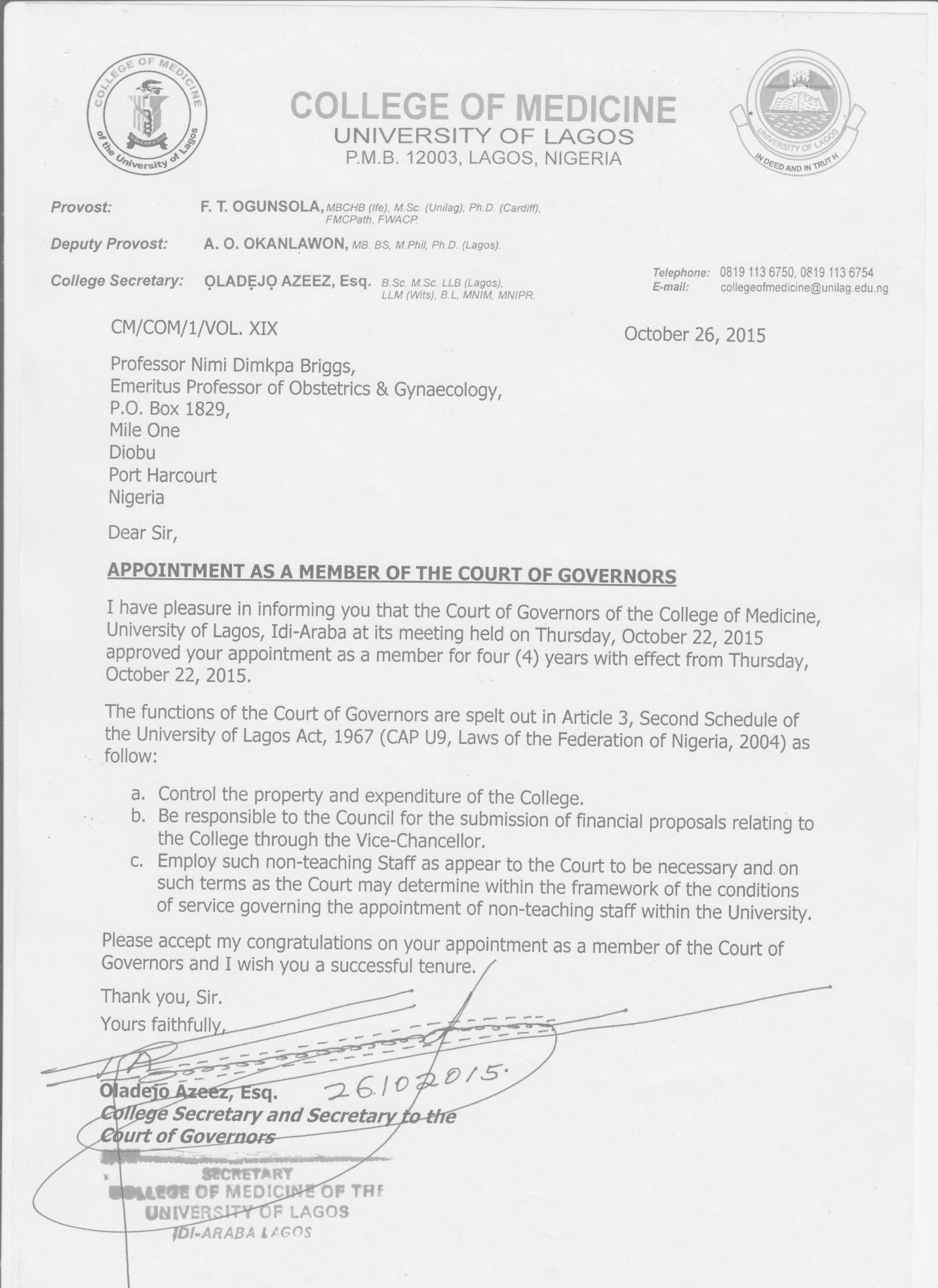 APPOINTMENT INTO THE COURT OF GOVERNORS, COLLEGE OF MEDICINE, UNIVERSITY OF LAGOS