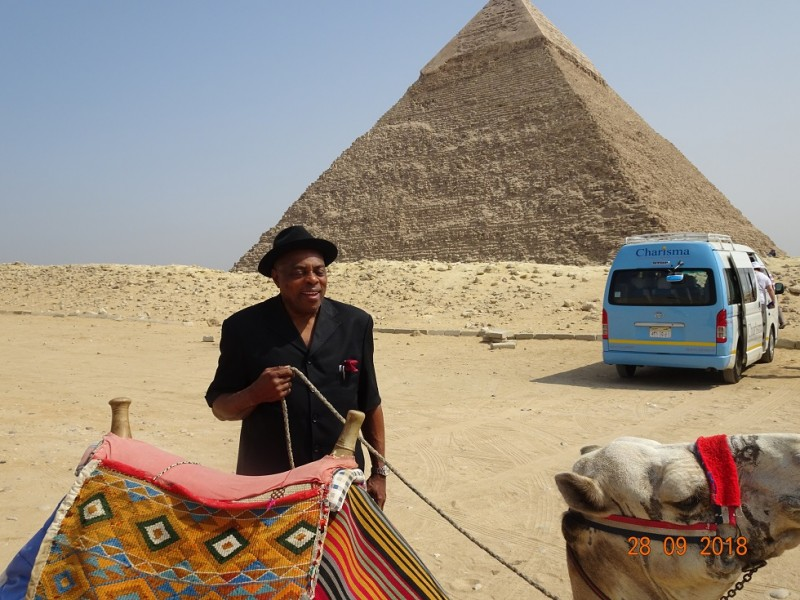 Professor Nimi Briggs near the pyramid