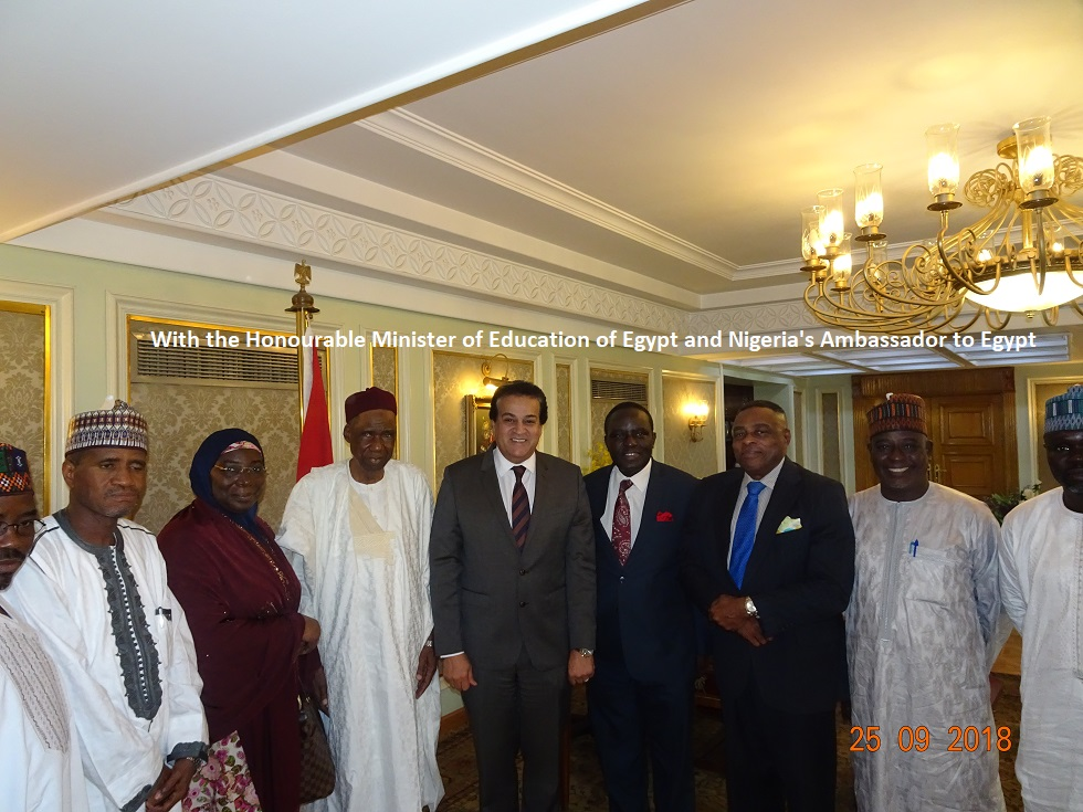 With the Honorable Minister of Education, Egypt and Nigeria's Ambassador to Egypt