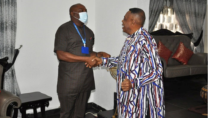 Prof. Nimi Briggs (R) receiving Prof. Nwajiuba
