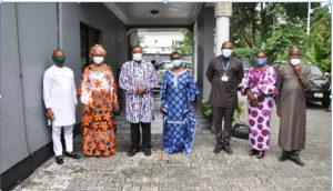 From (R) Chris Uwadoka, Barr. Grace Eze-Ali, VC Prof. Nwajiuba, Lady Data Briggs, Prof. Nimi Briggs, Odisa Okeke (Mrs) and Chris Akubuiro