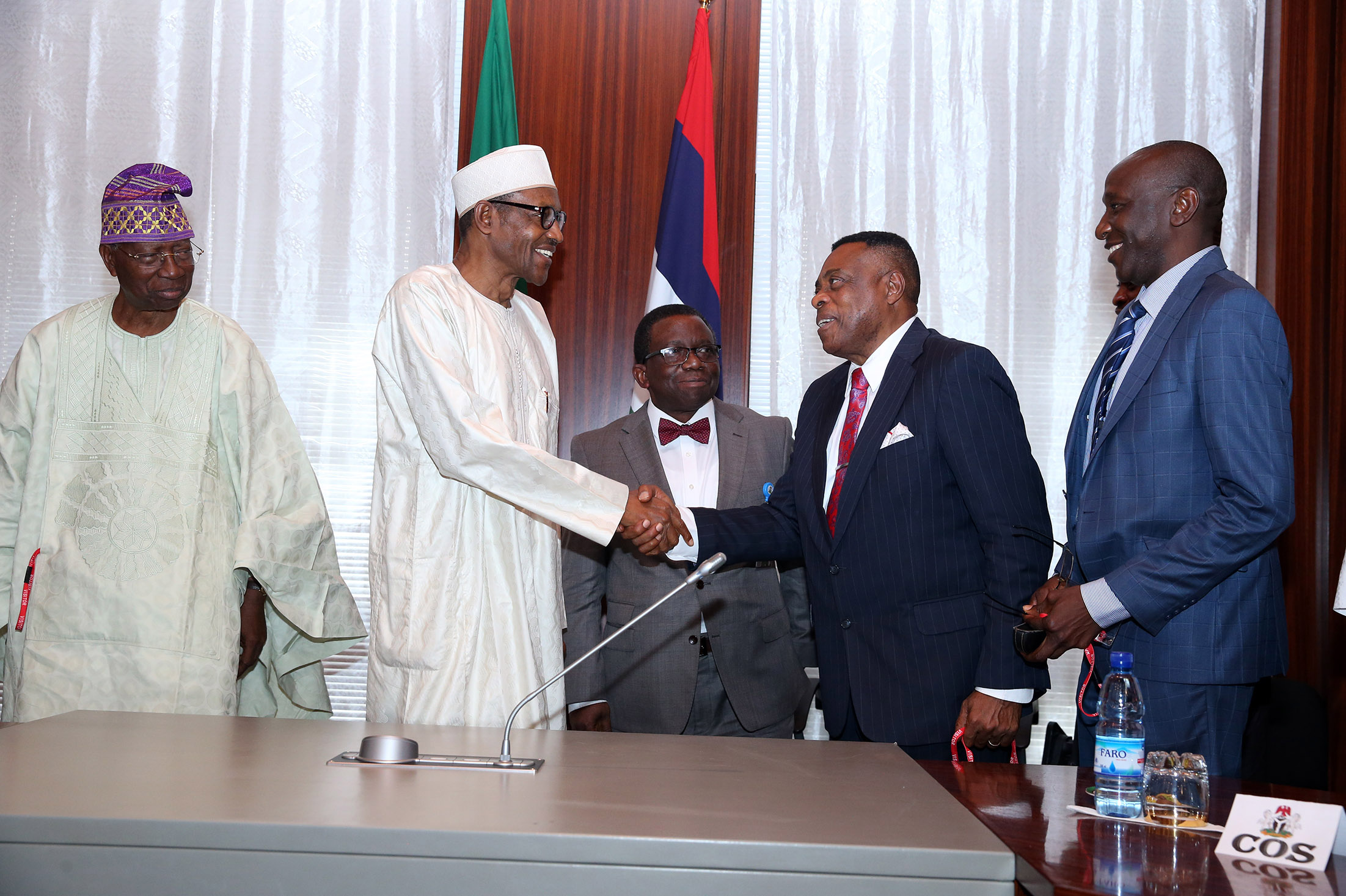 PRESIDENT BUHARI RECEIVED OBASANJO PRESIDENTIAL LIB TEAM. 5. L-R; Leader of the Team, Professor O. O. Akinkugbe, President Muhammadu Buhari, Minister of Health Prof Isaac Adewole, Prof Nimi Briggs and Prof Noel Wannang during a meeting with Team of Eminent Nigerians from Olusegun Obasanjo's President Library as they present health reports from health sector to the President at the State House in Abuja. PHOTO; SUNDAY AGHAEZE/STATE HOUSE PHOTO. MARCH 1 2016